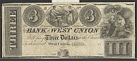 West Union, OH, 1830s $3 Remainder, The Bank of West Union, VF